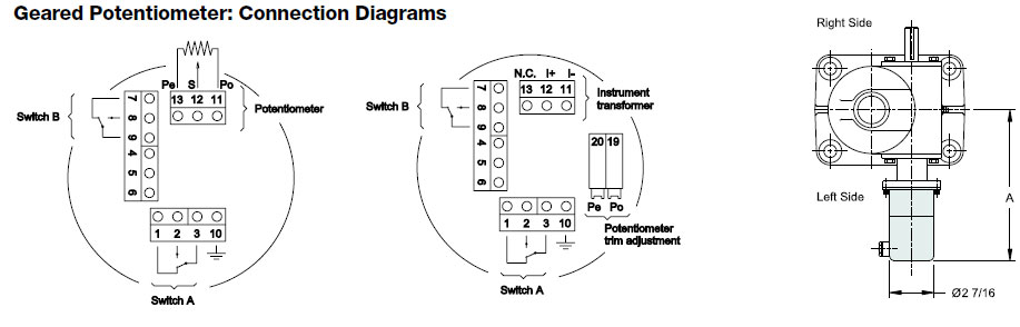 Geared Potentiometer: Connection Diagrams