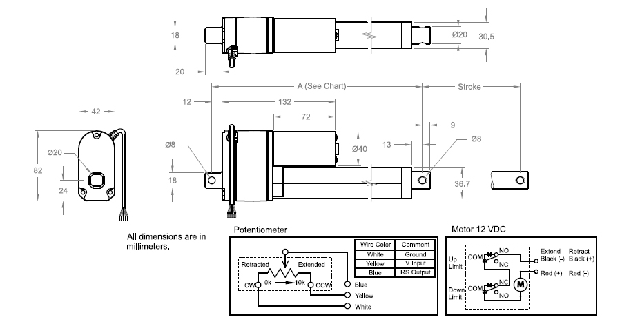 MULTIPURPOSE ACTUATORS(12VDC - 112lbs) DIAGRAMMATIC EXPLANATION